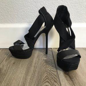 BEBE black platform heels